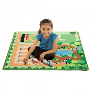 Melissa & Doug Round the Ranch Horse Activity Rug (39 x 36 inches) With 4 Play Horses and Folding Fence - Sale