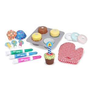 Melissa & Doug Bake and Decorate Wooden Cupcake Play Food Set - Sale