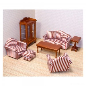 Melissa & Doug Classic Victorian Wooden and Upholstered Dollhouse Living Room Furniture (9pc) - Sale