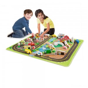 Melissa & Doug Deluxe Activity Road Rug Play Set with 49pc Wooden Vehicles and Play - Sale