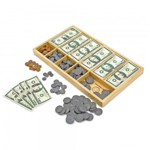 Melissa & Doug Play Money Set - Educational Toy With Paper Bills and Plastic Coins (50 of each denomination) and Wooden Cash Drawer for Storage - Sale