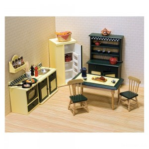 Melissa & Doug Classic Wooden Dollhouse Kitchen Furniture (7pc) - Buttery Yellow/Deep Green - Sale