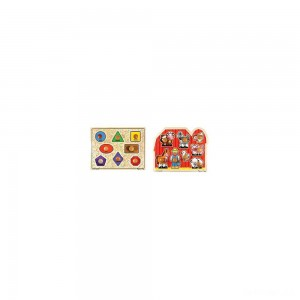 Melissa & Doug Jumbo Knob Wooden Puzzles - Shapes and Farm Animals 2pc - Sale