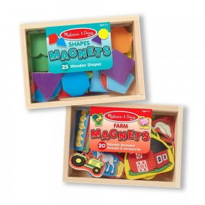 Melissa & Doug Wooden Magnets Set - Shapes and Farm (45pc) - Sale