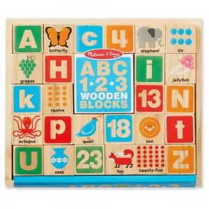 Melissa & Doug ABC/123 Wooden Blocks (26pc) - Sale