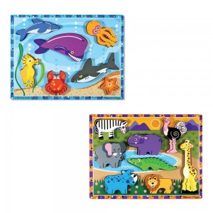 Melissa & Doug Chunky Puzzle 7pc Bundle - Safari & Sea Creatures - Sale