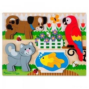 Melissa & Doug Pets Wooden Chunky Jigsaw Puzzle - Dog, Cat, Bird, and Fish (20pc) - Sale