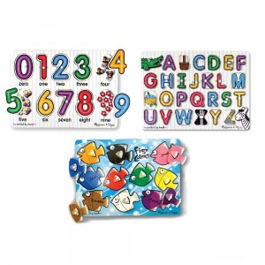 Melissa & Doug Fish Colors, ABC, and Numbers Wooden Mix 'n Match Peg Puzzle Bundle - Sale