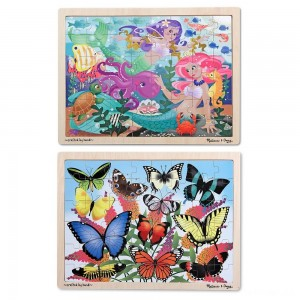 Melissa & Doug Wooden Jigsaw Puzzle Set - Mermaids and Butterflies 96pc - Sale