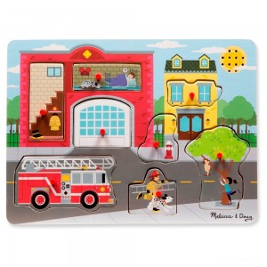 Melissa & Doug Around the Fire Station Sound Puzzle - Wooden Peg Puzzle (8pc) - Sale