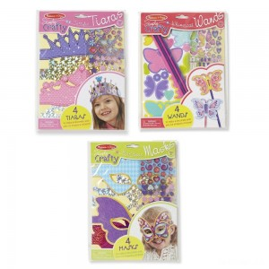 Melissa & Doug Simply Crafty Activity Kits Set: Terrific Tiaras, Marvelous Masks, Whimsical Wands (Makes 4 of Each) - Sale