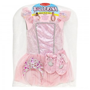 Melissa & Doug Ballerina Role Play Costume Set (4pc) - Includes Ballet Slippers, Tutu, Women's, Size: Small, Pink - Sale